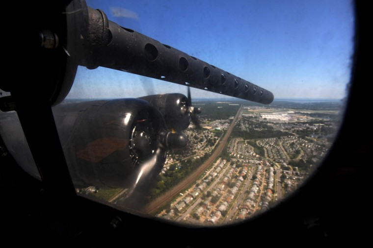 This .50 caliber machine gun protrudes from a window in the bombardier section of the plane. The bomber's fuel capacity is 2,780 gallons. Empty, the plane weighs 34,000 lbs. In war time, the gross weight was 65,500 lbs. (Algerina Perna/Baltimore Sun)