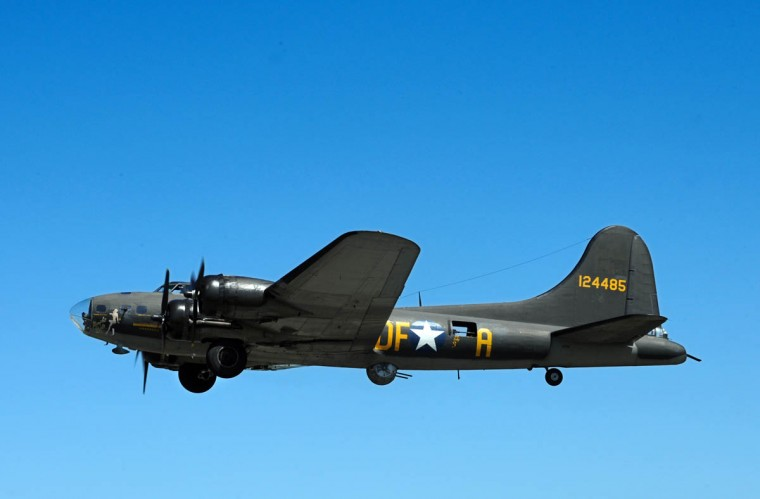 "The normal range of the B-17 bomber was 1,850 miles, and can be extended with additional fuel. Often called ""The Flying Fortress,"" the four-engine B-17 bomber with a 10-crew capacity was equipped with 13 machine guns and an 8,000 to17,600-pound bomb load. The public can watch the aircraft fly at no charge this Saturday and Sunday, or take a 1/2 hour flight into history for $450 from10am to 5pm. (Algerina Perna/Baltimore Sun)"