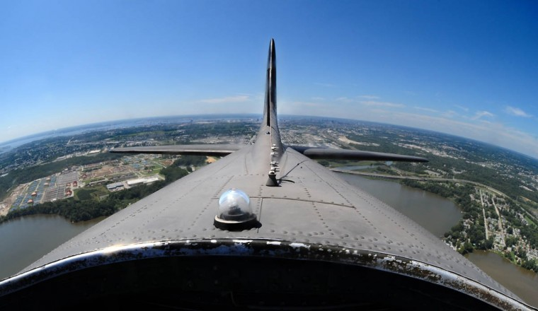 The wing span of the B-17 is 103 feet, 9 inches. The length is 74 feet, 4 inches. The height is 19 feet, 1 inch. This view faces the rear of the plane. (Algerina Perna/Baltimore Sun)