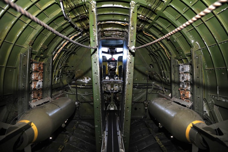 The bomb load of the B-17 was 8,000 lbs. If fitted with external racks, the range could extend to over double the capacity: 17, 600 lbs. Beyond the bomb bay (pictured) is the pilot cabin of the B-17. (Algerina Perna/Baltimore Sun)