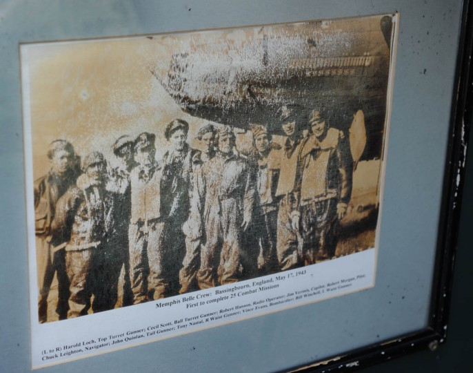Members of the original Memphis Belle Crew, 1943, are immortalized in a faded photograph. (Algerina Perna/Baltimore Sun)