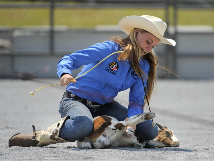 Jessa Russell of Calverton H.S. competes during the goat tying event. (Lloyd Fox/Baltimore Sun)