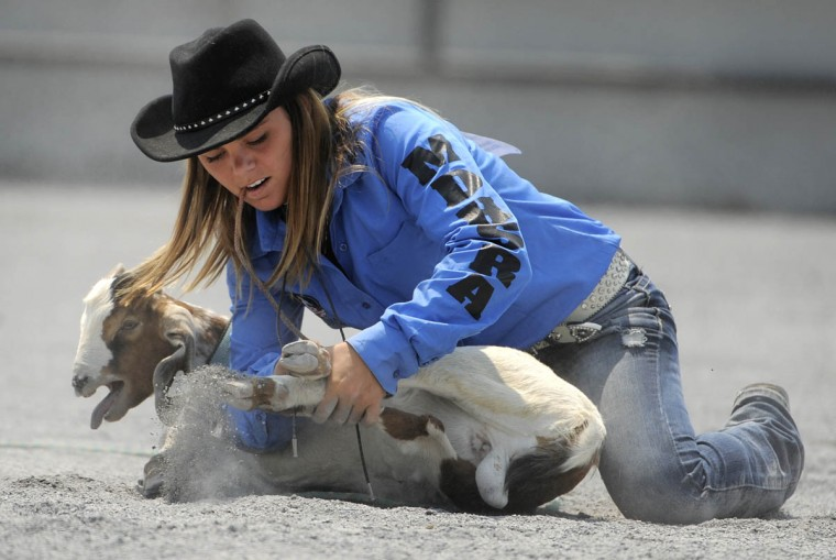 Courtney Casper of Linganore H.S. in Frederick ties up a goat during the goat tying competition of the rodeo. (Lloyd Fox/Baltimore Sun)
