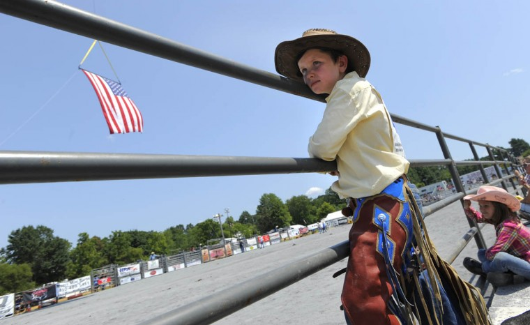 Jacob McKnew, 8, who is in the elementary school division called the Mustang division finished in first place in the Mustang division barrel racing. (Lloyd Fox/Baltimore Sun)