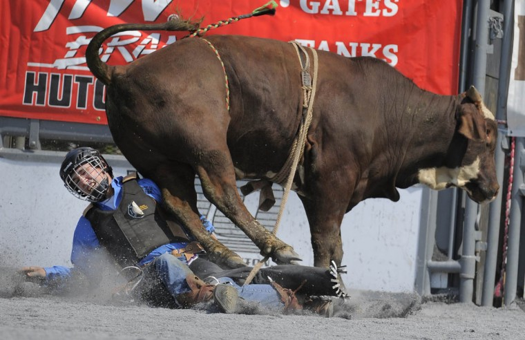 Marshall Warden of Fanne H. Metal H.S. falls off the bull he was riding during the competition. (Lloyd Fox/Baltimore Sun)