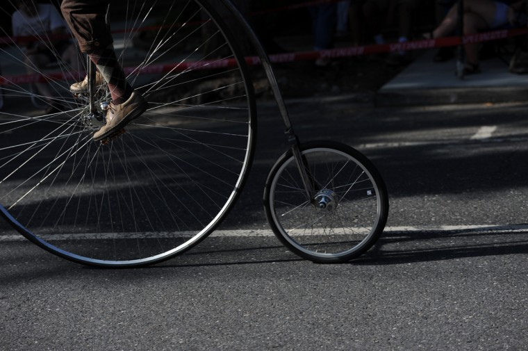 Steve Weddles of Greencastle, Pa., participates in the 2014 Frederick Clustered Spires High Wheel Race. (Kim Hairston/Baltimore Sun)