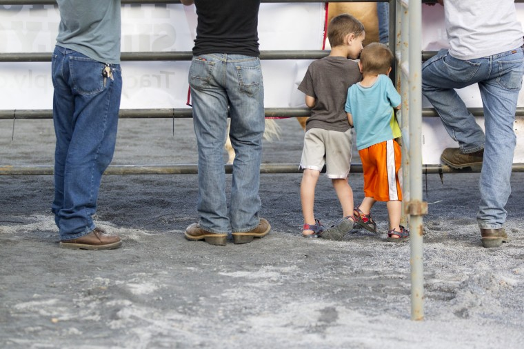 Spectators line up for the Bull Blast during the 69th Annual Howard County Fair in West Friendship on Monday, August 4, 2014. (Jen Rynda/BSMG)