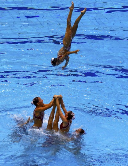 Team Spain performs in the synchronised swimming team free routine final at the European Swimming Championships in Berlin August 16, 2014. REUTERS/Michael Dalder