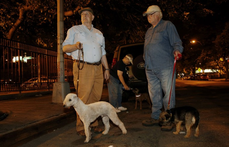 Richard Reynolds (L), founding member of the Ryders Alley Trencher-fed Society, stands with others during an organized rat hunt on New York's Lower East Side July 25, 2014. The Ryders Alley Trencher-fed Society (R.A.T.S.) is a group of enthusiasts who take their dogs out to hunt rats in New York City. Members of the independent group venture out on night-time excursions to allow their dogs to do what they do best: hunt and kill vermin. (Mike Segar/Reuters)