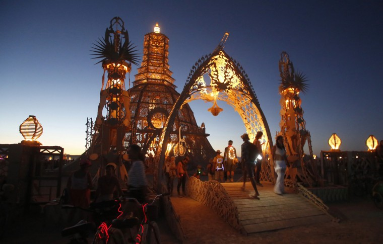 "The Temple of Grace during the Burning Man 2014 ""Caravansary"" arts and music festival in the Black Rock Desert of Nevada, August 27, 2014. People from all over the world have gathered at the sold out festival to spend a week in the remote desert cut off from much of the outside world to experience art, music and the unique community that develops. (Jim Urquhart/Reuters)"
