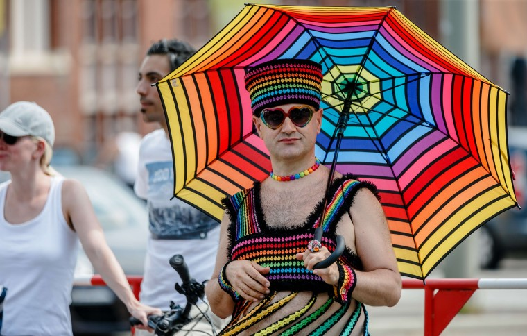 A participant of the Christopher Street Day in Hamburg, Germany. (Markus Scholz/AFP-Getty Images)