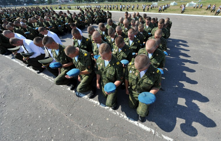 Belarus soldiers of airborne forces celebrate the paratroopers day in Brest (354 km, 220 miles from Minsk.) The holiday for the Russian airborne troops has been annually celebrated since the Soviet era till today. (Victor Drachev/AFP-Getty Images)