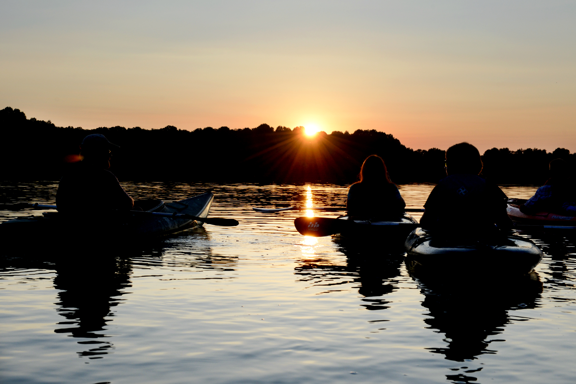 Taking a sunset kayak tour of Piney Run Reservoir
