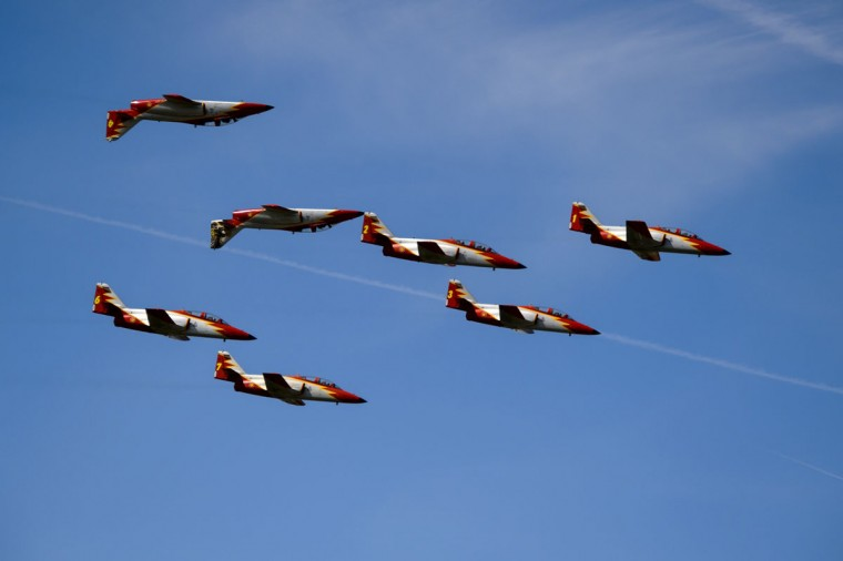 "The Spanish Air Force's ""Patrulla Aguila"" aerobatic team performs on the first day of the AIR14 air show in Payerne, western Switzerland, on August 30, 2014. (FABRICE COFFRINI/AFP/Getty Images)"
