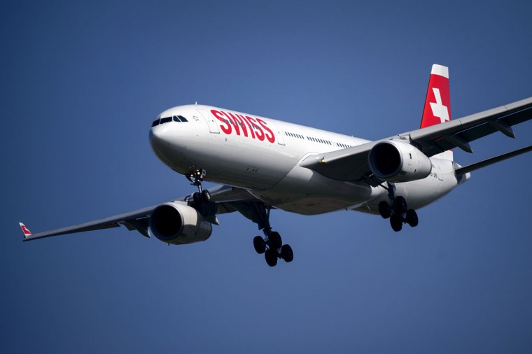An Airbus A330 commercial plane of Swiss International Air Lines performs during the second weekend of the AIR14 air show on September 6, 2014 in Payerne, western Switzerland. (FABRICE COFFRINI/AFP/Getty Images)