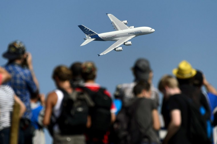 An Airbus A380 commercial plane of Swiss International Air Lines performs during the second weekend of the AIR14 air show on September 6, 2014 in Payerne, western Switzerland. (FABRICE COFFRINI/AFP/Getty Images)