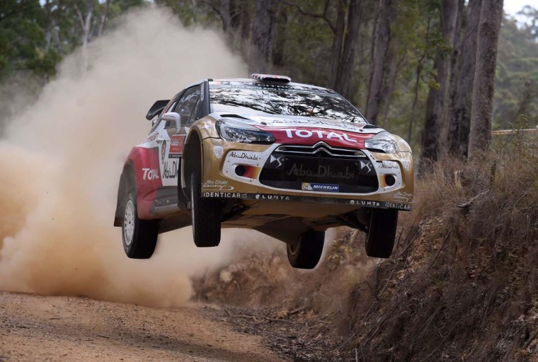 British rally driver Kris Meeke jumps his Citroen over a brow during the fifth special stage of the World Rally Championship (WRC) Rally of Australia, near Bellingen on the New South Wales central coast on September 12.   || CREDIT: WILLIAM WEST - AFP/GETTY IMAGES