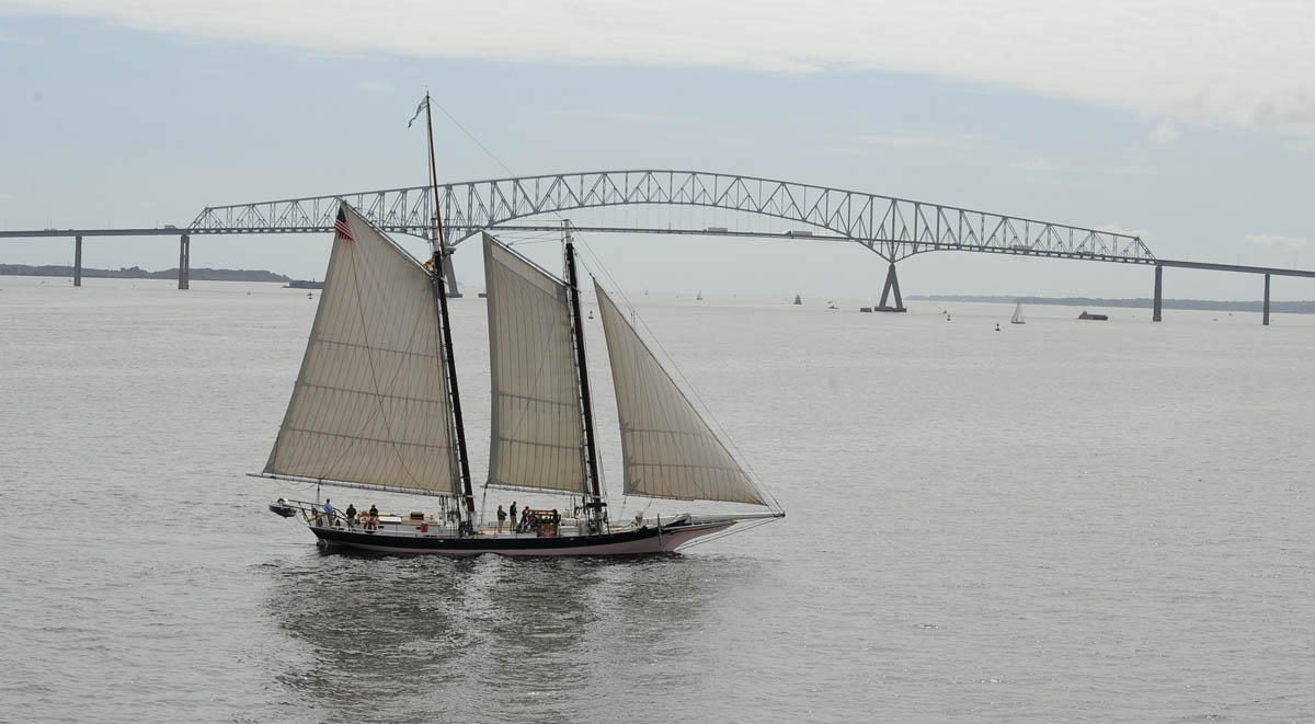 Aerial view of tall ships arriving in Baltimore