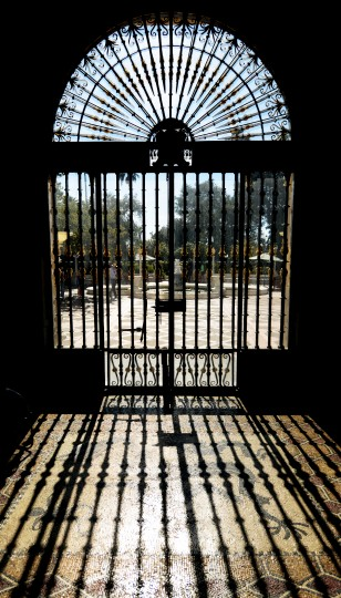 Taken from behind the iron gate of the Hearst Castle.
