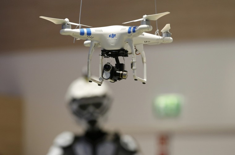 A drone with Sony Action Cam Mini is pictured at the IFA consumer technology fair in Berlin, September 5, 2014. (Fabrizio Bensch/Reuters)