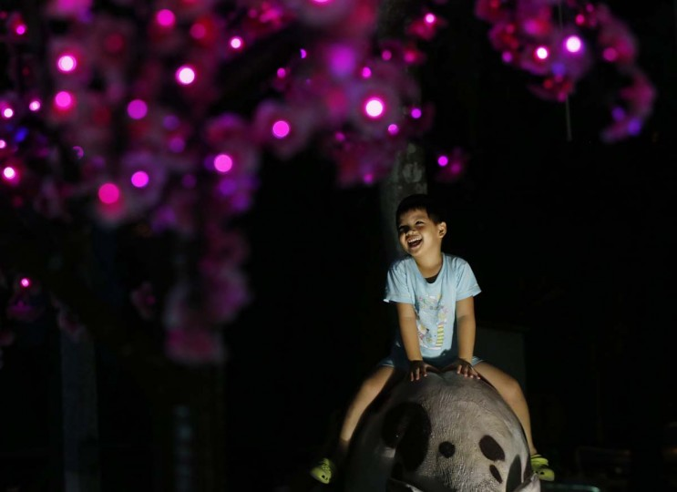A boy sits under coloured lights during the mid-Autumn festival at the Thean Hou temple in Kuala Lumpur September 8, 2014. (Olivia Harris/Reuters)