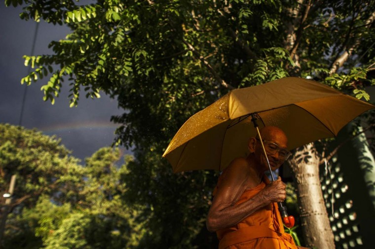 A buddhist monk holds an umbrella as he walks inside a temple in Bangkok September 8, 2014. (Athit Perawongmetha/Reuters)