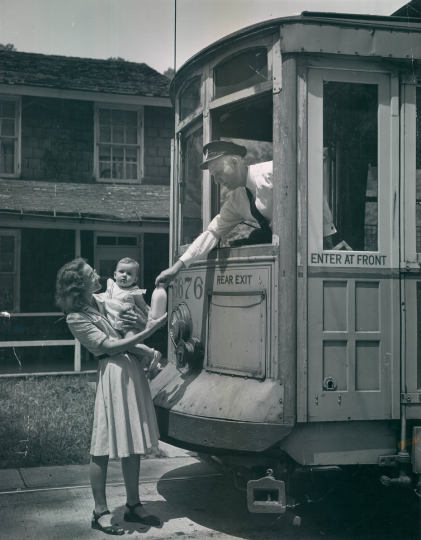 A Baltimore Transit Company car rolls through Dickeyville. (Hans Mark/Sun file)