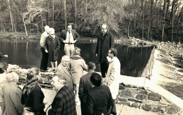 Nov. 8, 1972: The Dickeyville Dam dedication after being rebuilt after tropical storm Agnes. (Sun file)