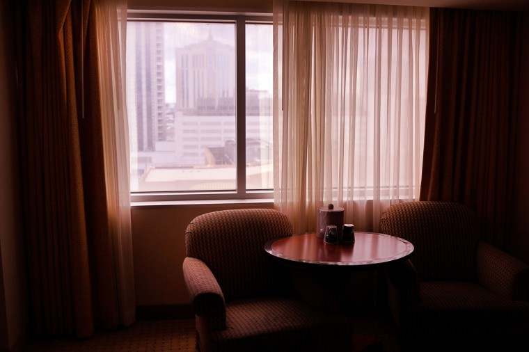 A hotel room is viewed in the Showboat Casino, which was scheduled to close earlier this year, in Atlantic City on July 29, 2014 in Atlantic City, New Jersey. Several of Atlantic City's 11 casinos have announced plans to close, gone bankrupt or closed leaving thousands of residents without jobs. (Photo by Spencer Platt/Getty Images)