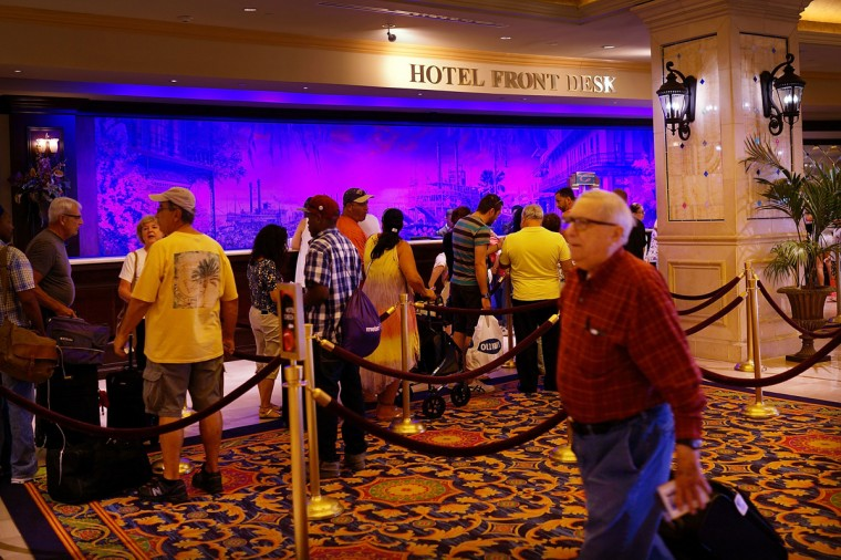 The front desk at the Showboat Casino, which was scheduled to close, on July 30, 2014 in Atlantic City, New Jersey. (Photo by Spencer Platt/Getty Images)