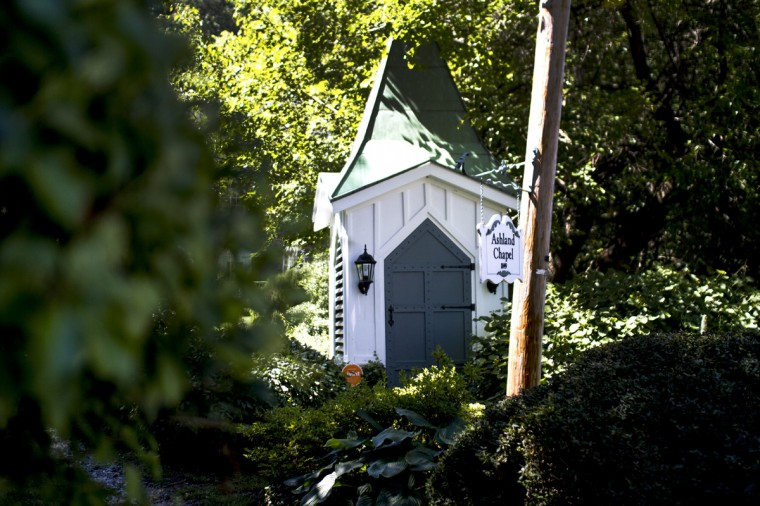 August 2014: The old church steeple from Ashland Chapel in the historic mill village - Dickeyville - in western Baltimore. (Kalani Gordon/Baltimore Sun)