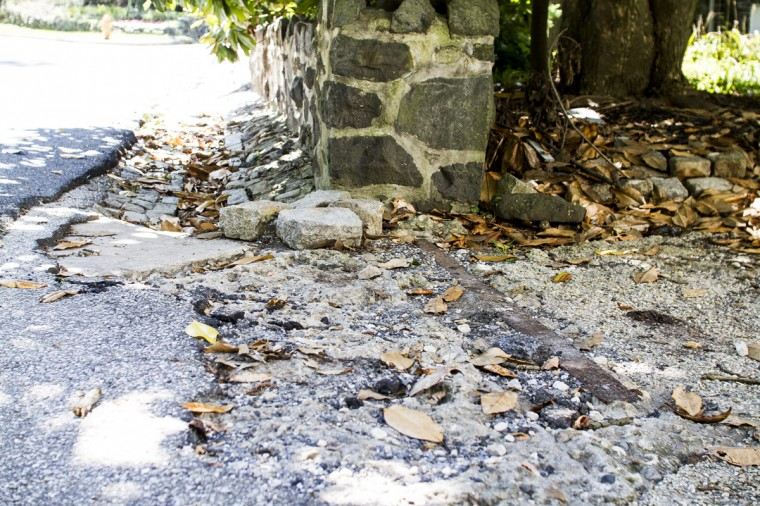 August 2014: Old street car lines are still visible in Dickeyville, a main stop. (Kalani Gordon/Baltimore Sun)