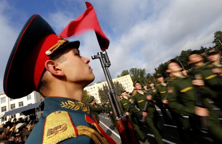 First year cadets of the Military University of Communication march during an oath-taking ceremony in St.Petersburg. Some 700 first year cadets of the academy attended the ceremony before starting their studies. (Alexander Demianchuk/Reuters)