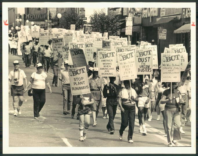 Baltimore's Labor Day Parade marches along Howard Street on Sept. 6, 1983. (Clarence Garrett/Baltimore Sun)