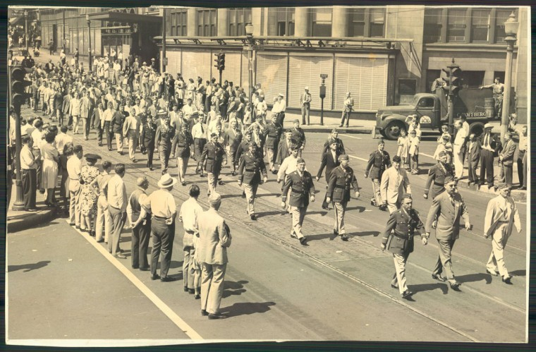 The 1946 Baltimore Labor Day Parade marches through the city. (Baltimore Sun Photo)