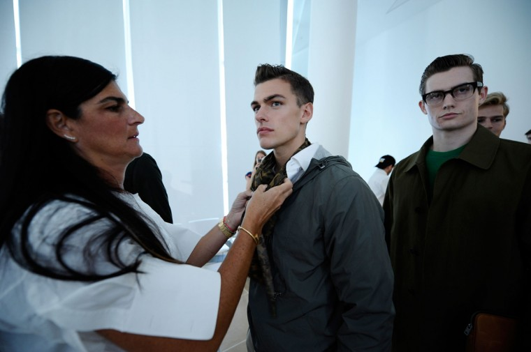 Models backstage at the Jack Spade Presentation during Mercedes-Benz Fashion Week Spring 2015 at IAC Building on September 3, 2014 in New York City. (Photo by Ilya S. Savenok/Getty Images)