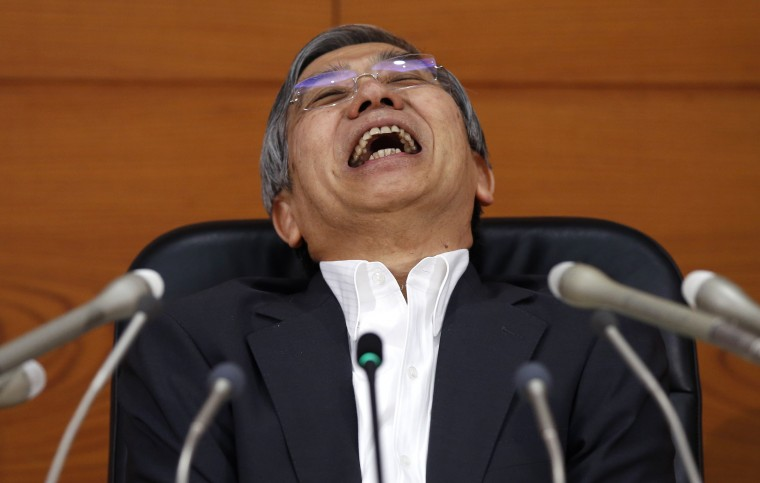 Bank of Japan (BOJ) Governor Haruhiko Kuroda reacts to a reporter's question during a news conference at the BOJ headquarters in Tokyo September 4, 2014. The Bank of Japan maintained its massive monetary stimulus and suggested the sales tax should rise again to help government finances, despite market doubts over the strength of the economy and the central bank's ability to hits its inflation target. (Toru Hanai/Reuters)