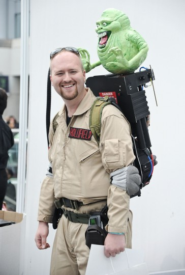 A Comic Con attendee poses as a Ghostbuster during the 2014 New York Comic Con at Jacob Javitz Center. Daniel Zuchnik/Getty Images