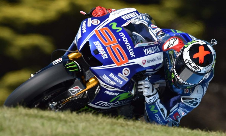 Jorge Lorenzo of Spain powers his Yamaha over Lukey Heights during the second practice session for the Australian MotoGP Grand Prix at Phillip Island on October 17. || CREDIT: PAUL CROCK - AFP/GETTY IMAGES