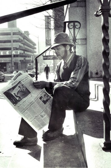 """""""Clint"""" unemployed and living along the streets. (Lloyd Pearson, 2/19/1982)"""