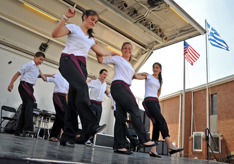 6/10/12: Dancers from the St. Mary Magdalena and Markella Church in Dublin, Maryland (Harford County) perform at the St. Nicholas Greek Folk Festival in Greektown. (Amy Davis/Baltimore Sun)