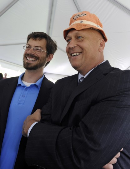 "Cal Ripken Jr. poses for pictures with Chris Trumbauer and his ""Lucky"" Orioles floppy hat. Ripken had signed the O's game give-away hat almost 20 years ago for Trumbauer, who is the Anne Arundel County Council member for the Annapolis area. Ripken, representing The Cal Ripken, Sr. Foundation, opened a new ""Youth Development Park"" for the Boys and Girls Clubs of Annapolis at Wiley H. Bates Heritage Park. (Kenneth K. Lam/Baltimore Sun)"
