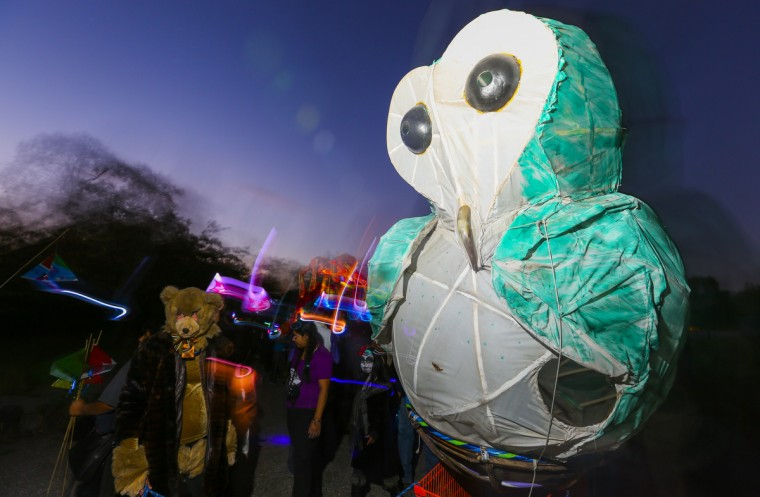 A giant owl made an impression at the annual Halloween Lantern Parade at Patterson Park this past weekend. (Kaitlin Newman/Baltimore Sun)