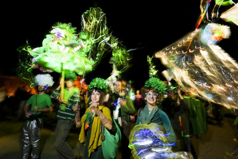A group of friends dress up as the vegetable kale at the annual Halloween Lantern Parade at Patterson Park this past weekend. (Kaitlin Newman/Baltimore Sun)