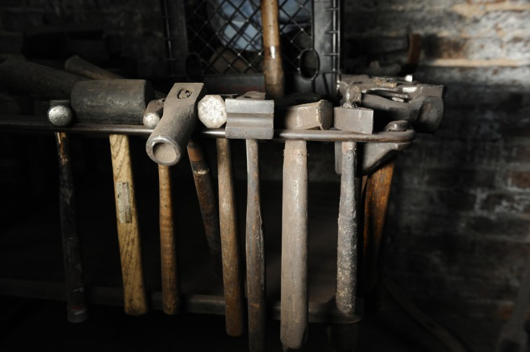 Forging hammers inside G. Krug & Son Ironworks, the oldest continually run blacksmith shop in the country. (Kim Hairston/Baltimore Sun)