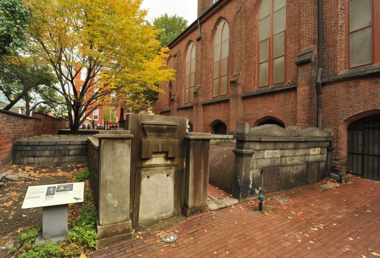 On the western side of the burial ground that runs along N. Greene Street is the Gilmor vault, c. 1812-1821. Sixteen Gilmor family members, and their family nurse, an African-American named Patience Marsh, were buried here until 1885, when their remains, including the nurse, were moved to Greenmount Cemetery. Robert Gilmor was a prominent merchant. Amy Davis / Baltimore Sun
