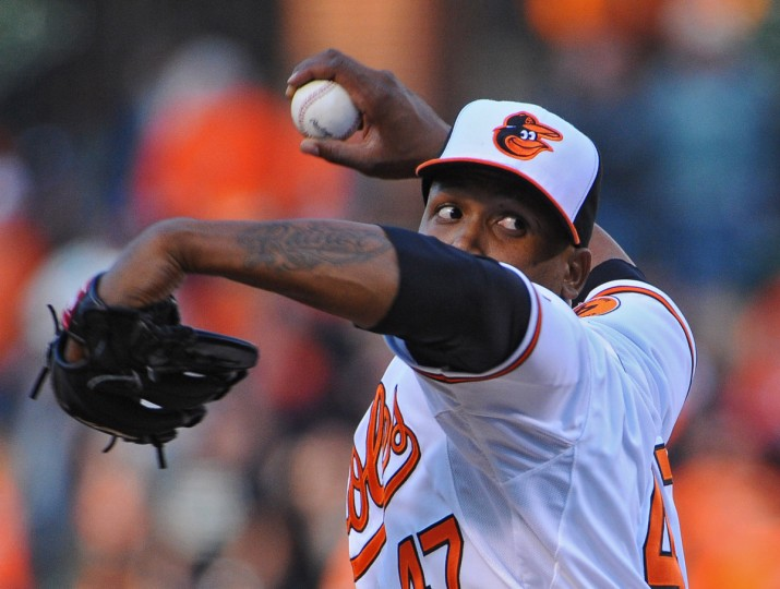 Orioles pitcher Pedro Strop delivers on Opening Day 2013. (Kenneth K. Lam/Baltimore Sun)