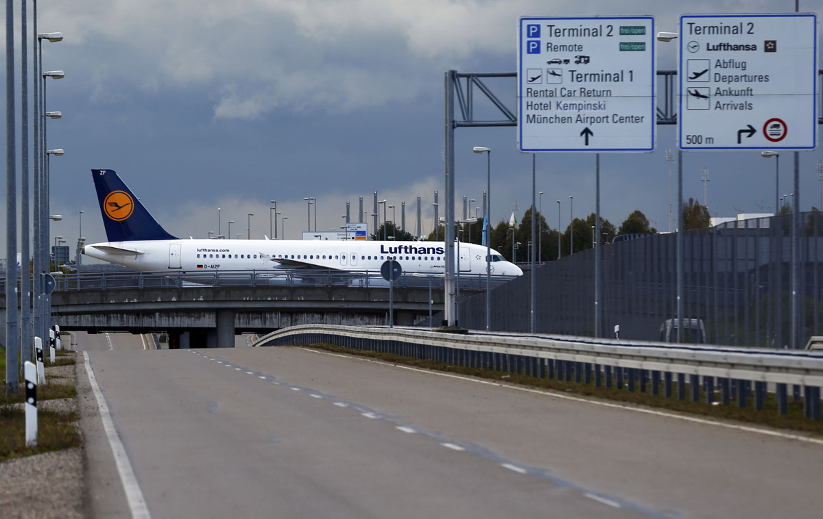 A German Airline Lufthansa Aircraft Taxis Along An Empty