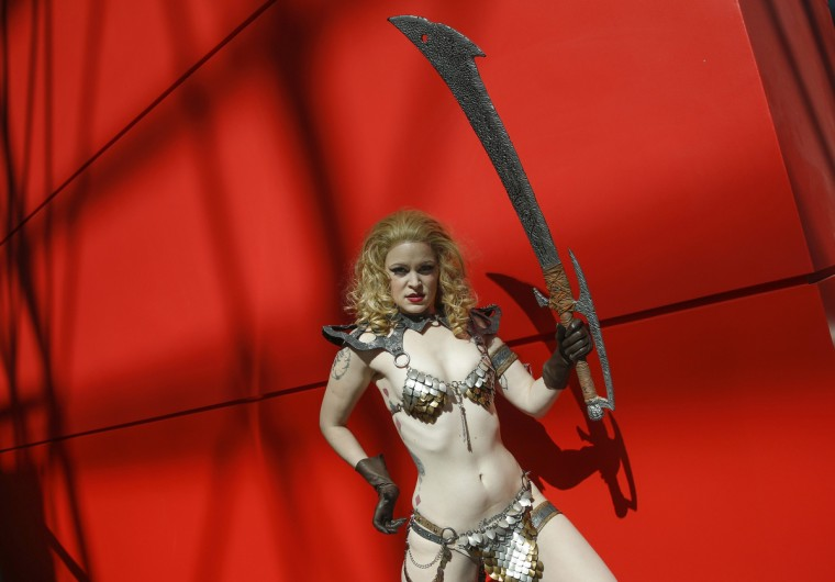 A costumed attendee poses at New York's Comic-Con convention. Shannon Stapleton/Reuters photo