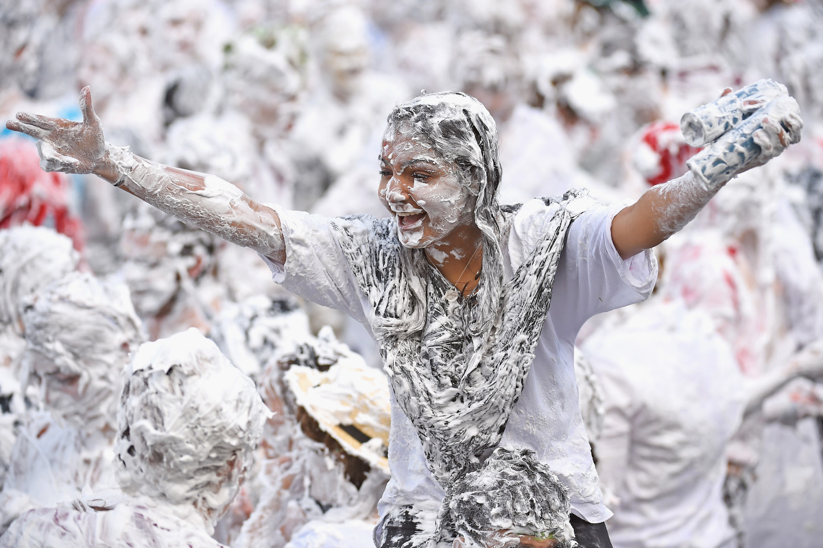 Foam fight at Scottish university is rite of passage for first year students